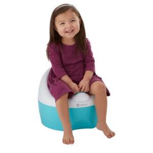 Toddler using the Bravo Potty in Aqua