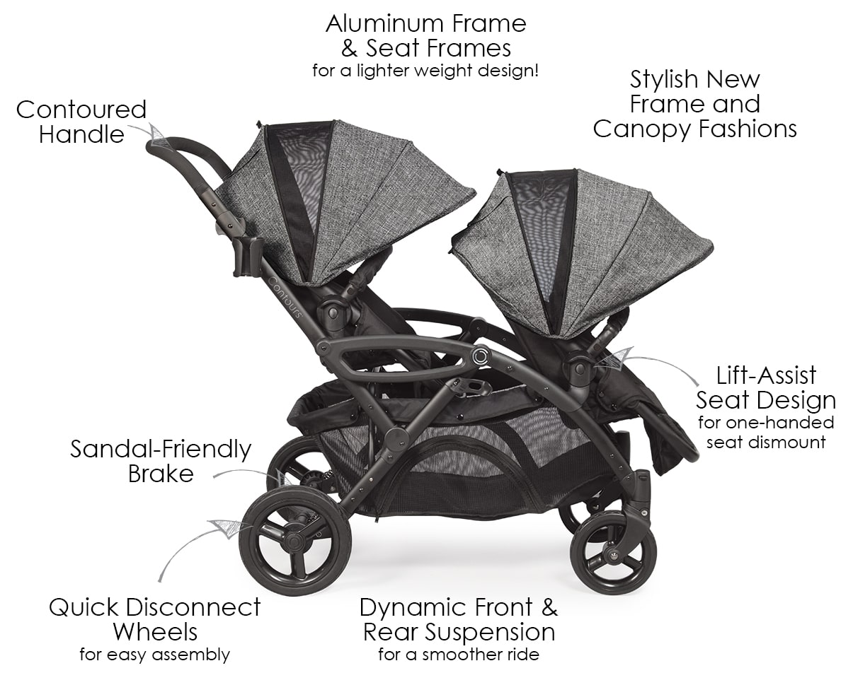 Options Elite Double Stroller Twin Strollers Tandem Stroller