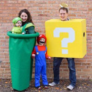 In Super Mario Brothers Costume