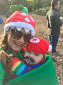 Baby in Carrier in Super Mario Brothers Costume