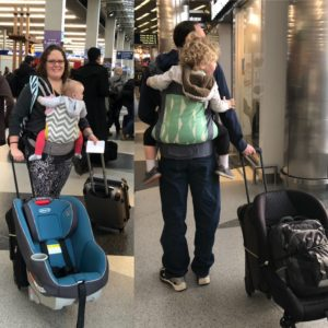 Parents with Kids in Carriers in Airport