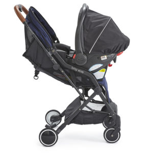 Bitsy Elite Sapphire Blue Stroller with a car seat