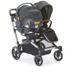 Contours Element Stroller in a double stroller mode with a car seat and stroller seat