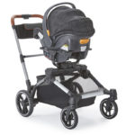 Contours Element Stroller in a single stroller mode with a car seat