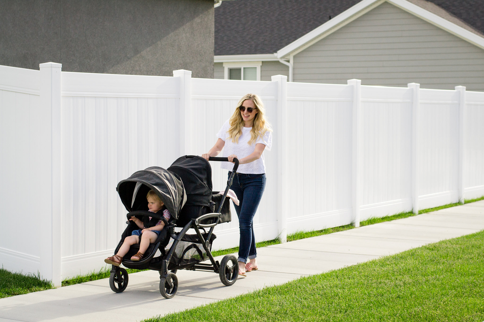 Stroller Safety Tips - Mom strolling with babies in Contours Options Elite Double Stroller