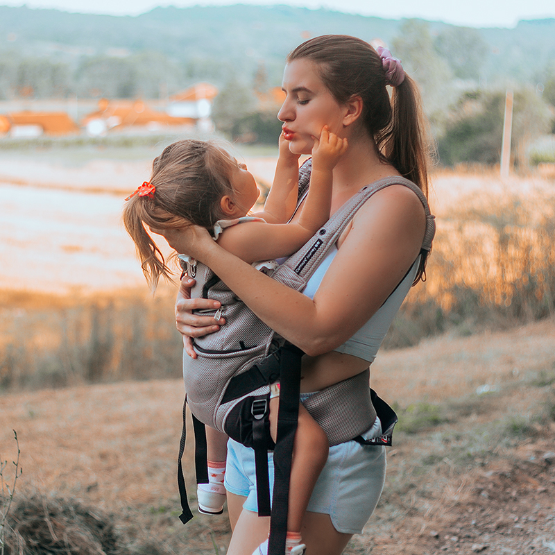 Mom with Baby in Carrier Facing Mom
